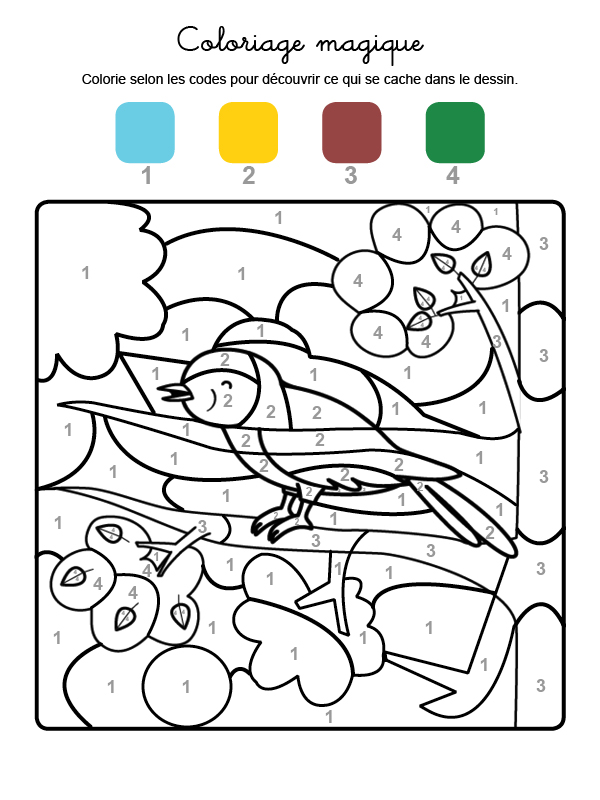 Dibujo mágico para colorear en francés de un pajarito cantando