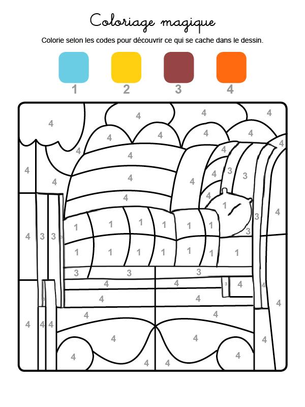 Dibujo mágico para colorear en francés de una cama con colcha y almohada
