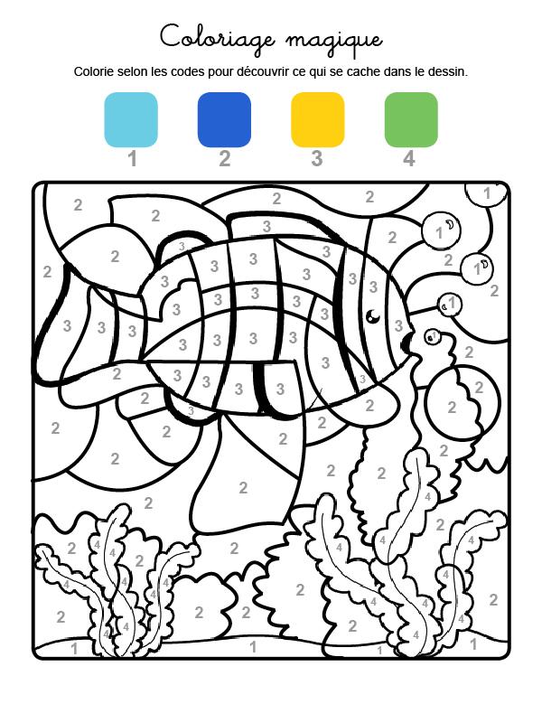 Dibujo mágico para colorear en francés de un pez en el agua