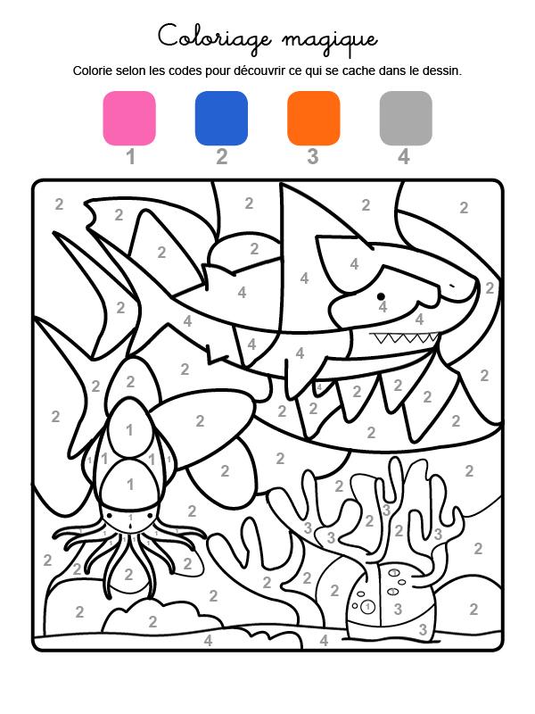 Dibujo mágico para colorear en francés de un tiburón bajo el agua