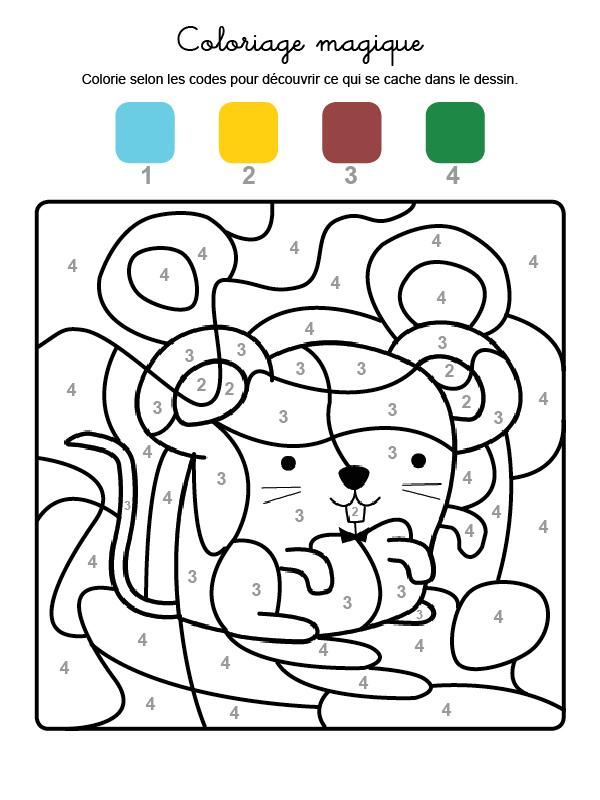 Dibujo mágico para colorear en francés de un ratón