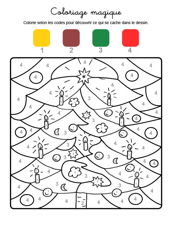 Dibujo mágico para colorear en francés de adornos de árbol de Navidad