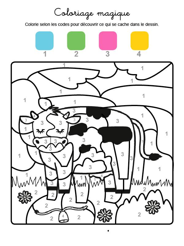 Dibujo mágico para colorear en francés de una vaca lechera en el campo