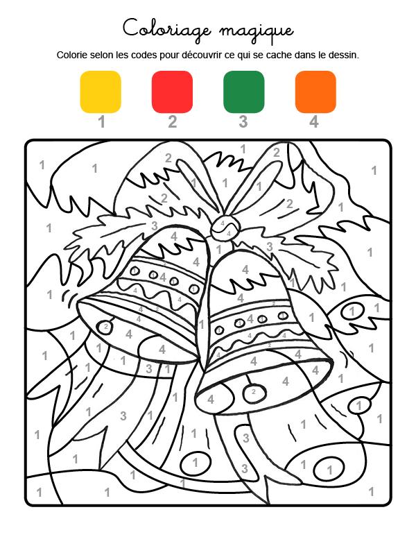 Dibujo mágico para colorear en francés de campanas de Navidad