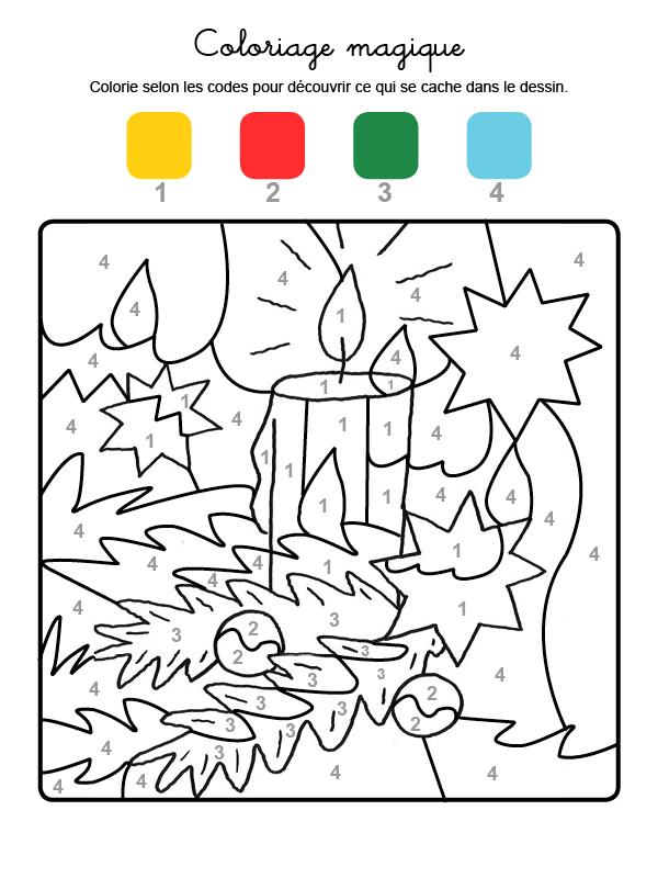 Dibujo mágico para colorear en francés de una vela de Navidad