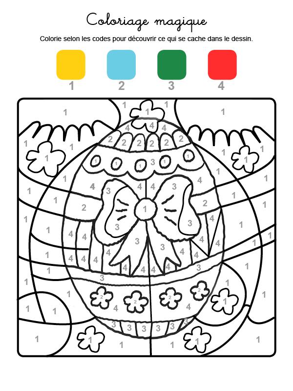 Dibujo mágico para colorear en francés de un huevo de Pascua