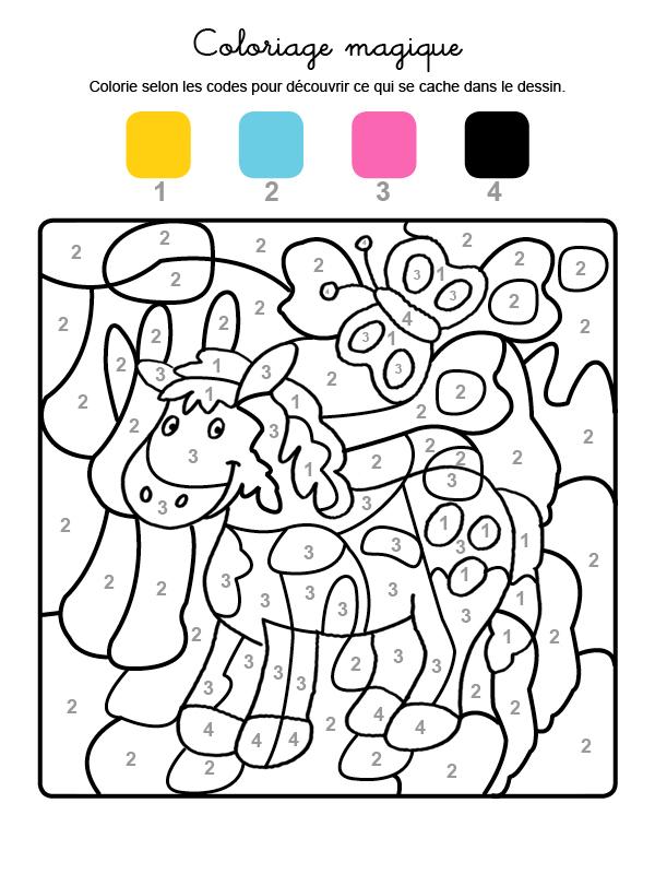 Dibujo mágico para colorear en francés de un poni y una mariposa