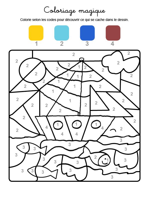 Dibujo mágico para colorear en francés de un velero en el mar