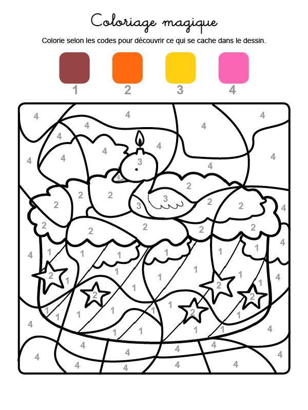 Dibujo mágico para colorear en francés de cumpleaños 2