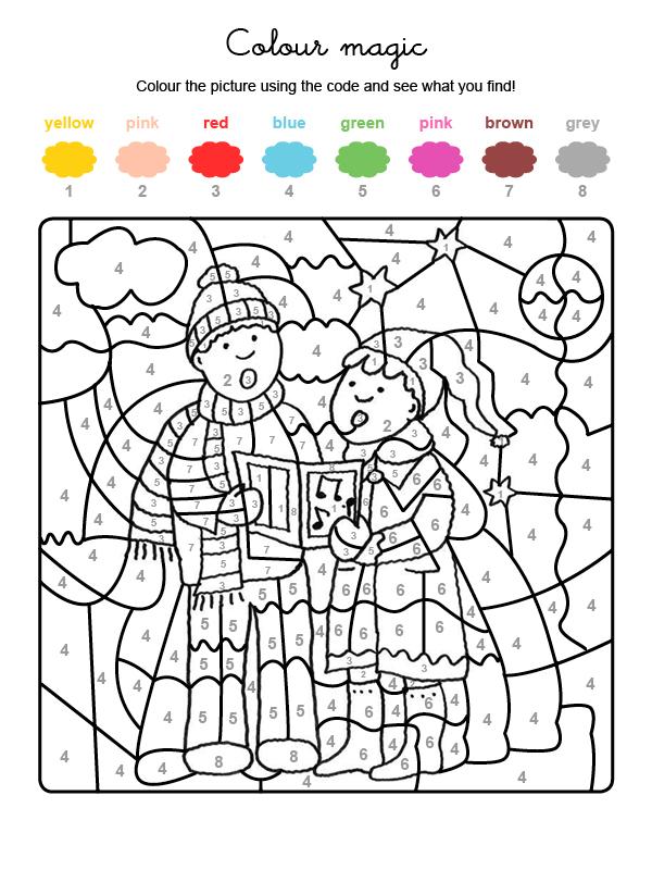 Ddibujo mágico para colorear en inglés de niños cantando