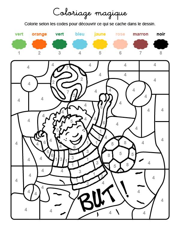 Dibujo mágico para colorear en francés de un jugador de fútbol