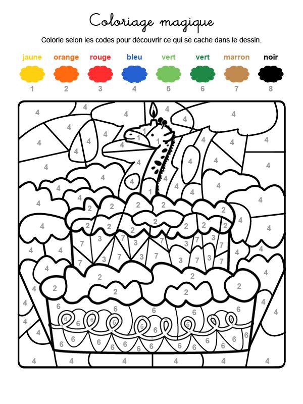 Dibujo mágico para colorear en francés de cumpleaños 7