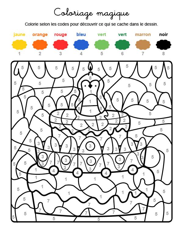 Dibujo mágico para colorear en francés de cumpleaños 8