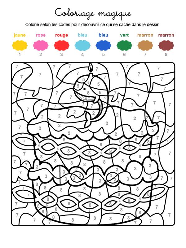 Dibujo mágico para colorear en francés de cumpleaños 9
