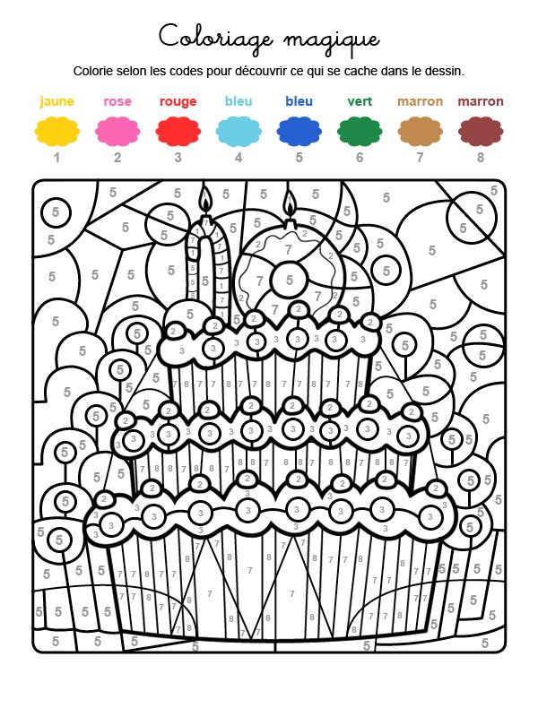 Dibujo mágico para colorear en francés de cumpleaños 10