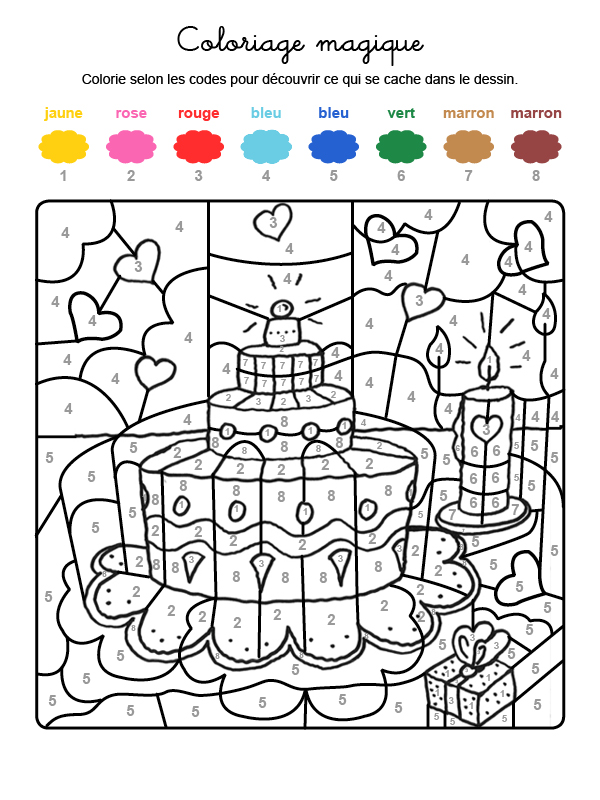 Dibujo mágico para colorear en francés de tarta de cumpleaños