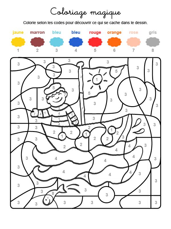 Dibujo mágico para colorear en francés de un marinero en su barco
