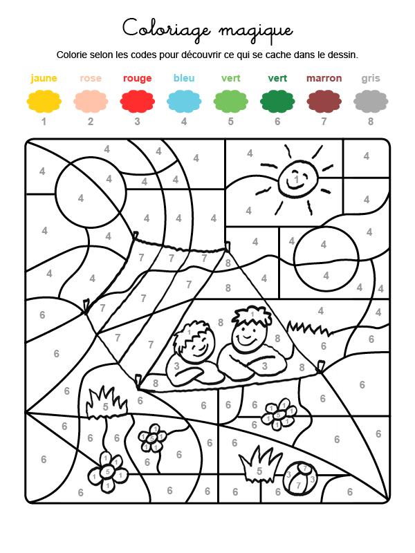 Dibujo mágico para colorear en francés de niños en una tienda de campaña