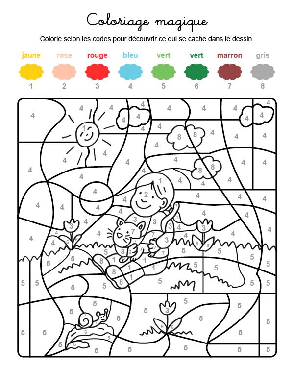 Dibujo mágico para colorear en francés de niña con un gatito en brazos