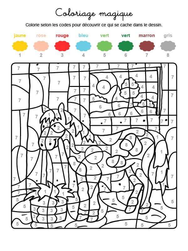 Dibujo mágico para colorear en francés de un caballo