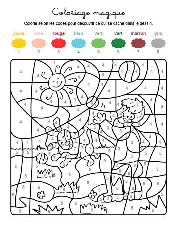 Dibujo mágico para colorear en francés de un niño y un perro jugando