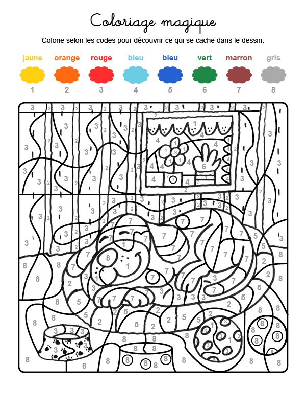 Dibujo mágico para colorear en francés de un perro durmiendo
