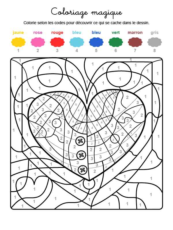 Dibujo mágico para colorear en francés de una ballena en un corazón
