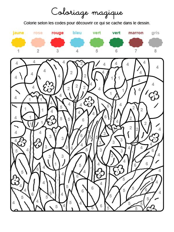 Dibujo mágico para colorear en francés de tulipanes en el campo