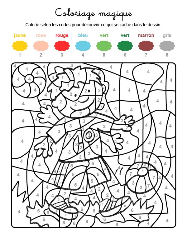 Dibujo mágico para colorear en francés de niño jugando al fútbol