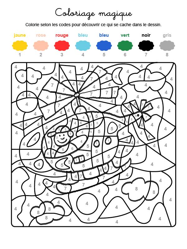 Dibujo mágico para colorear en francés de un helicóptero en el cielo