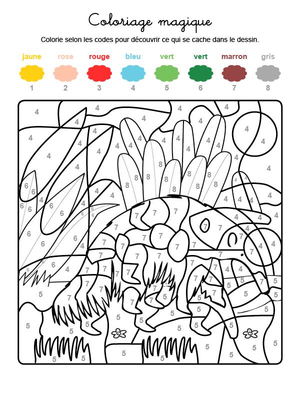 Dibujo mágico para colorear en francés de un oso hormiguero