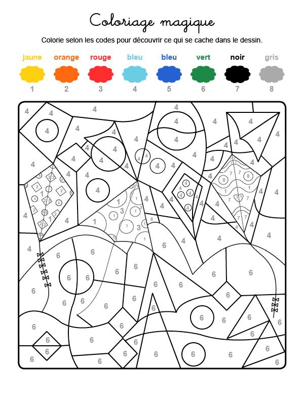 Dibujo mágico para colorear en francés de cometas volando en el cielo