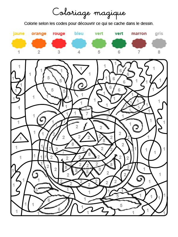 Dibujo mágico para colorear en francés de una calabaza de Halloween