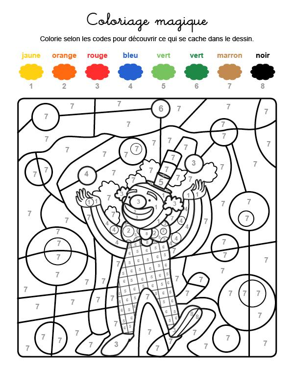 Dibujo mágico para colorear en francés de un payaso en el circo