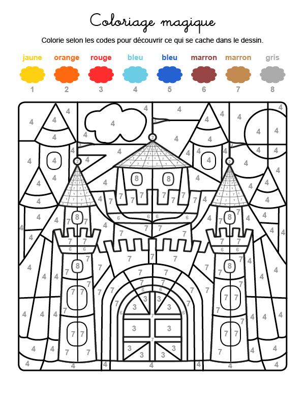 Dibujo mágico para colorear en francés de un castillo medieval