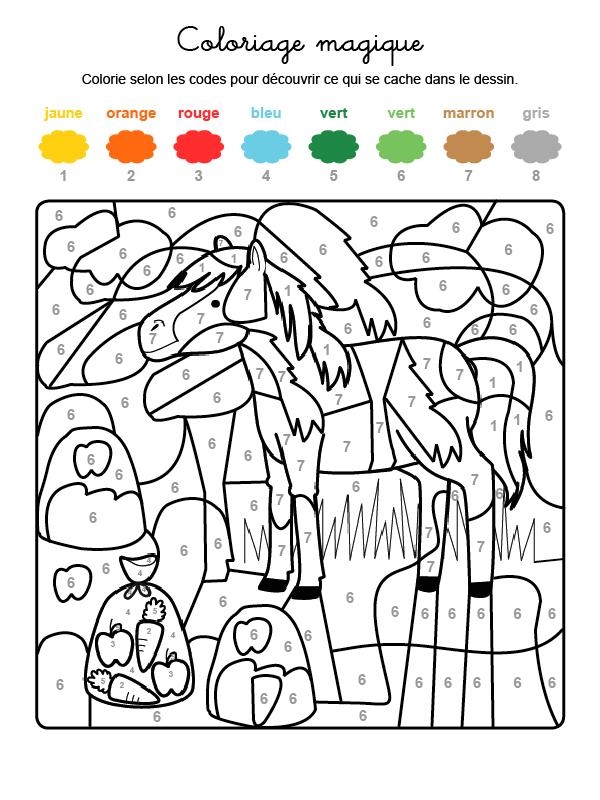 Dibujo mágico para colorear en francés de un caballo en el campo