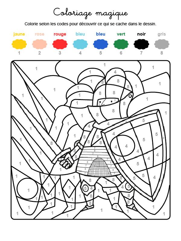 Dibujo mágico para colorear en francés de un caballero con armadura