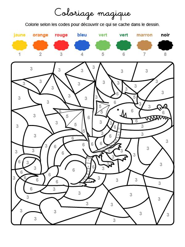 Dibujo mágico para colorear en francés de un dragón