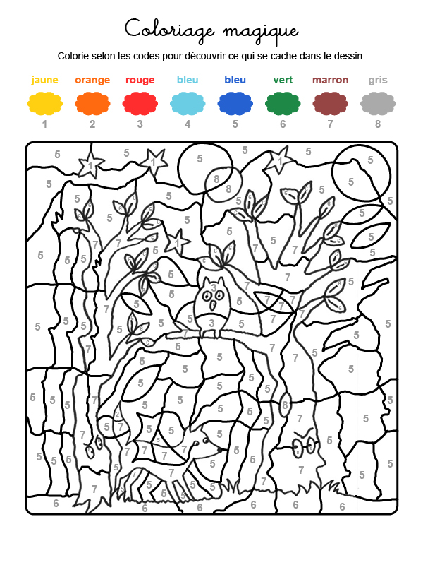Dibujo mágico para colorear en francés de fantasma en el bosque