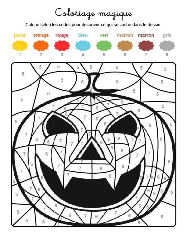 Dibujo mágico para colorear en francés de una supercalabaza de Halloween