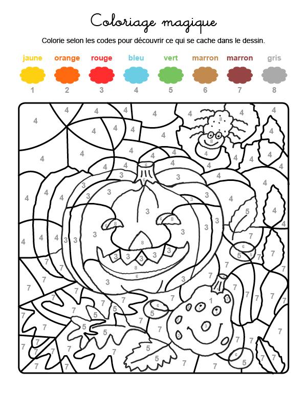 Dibujo mágico para colorear en francés de calabazas y araña
