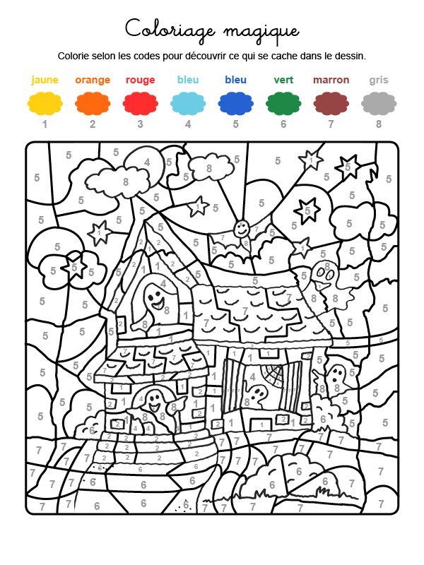 Dibujo mágico para colorear en francés de la casa de los fantasmas de Halloween