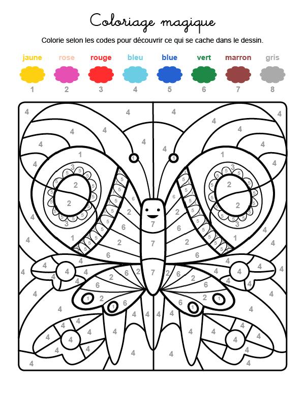 Dibujo mágico para colorear en francés de una mariposa de colores