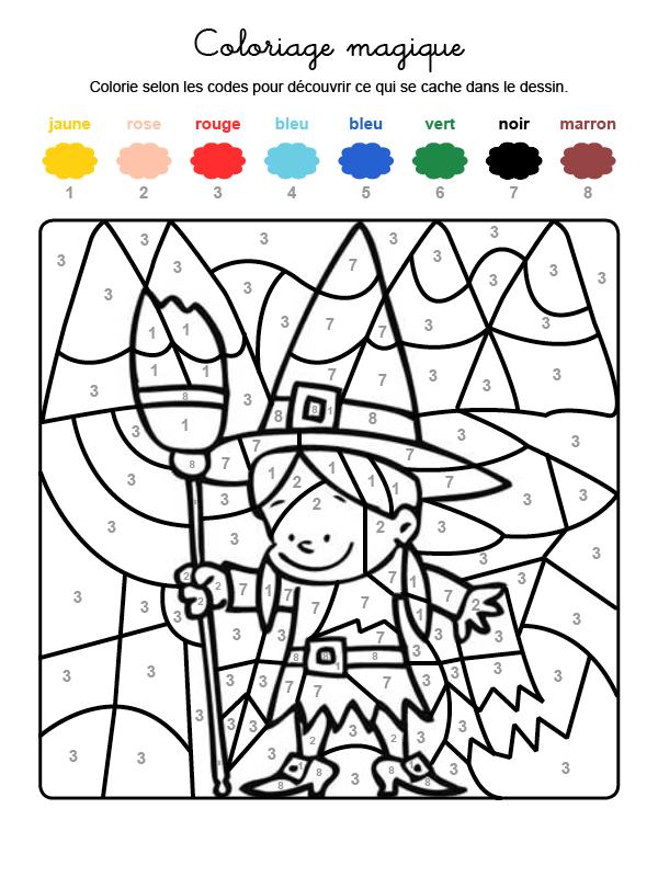 Dibujo mágico para colorear en francés de una brujita de Halloween