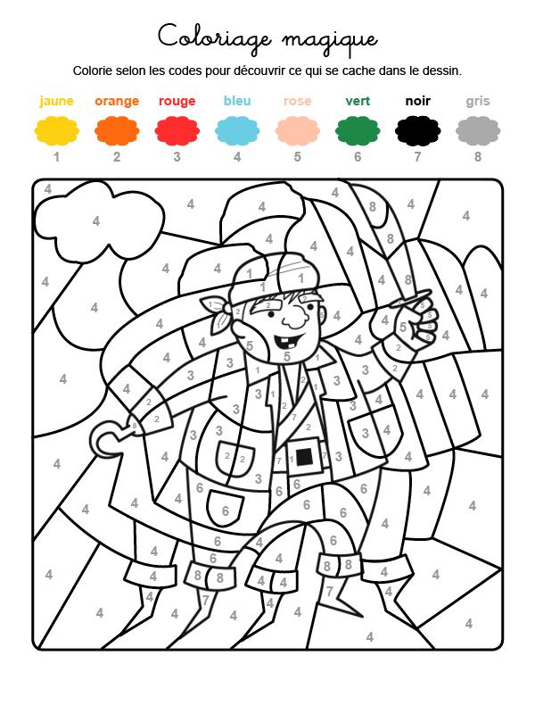 Dibujo mágico para colorear en francés de un pirata