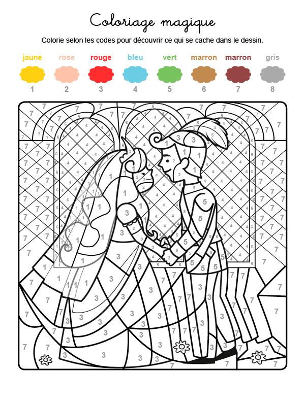 Dibujo mágico para colorear en francés de la boda de los príncipes