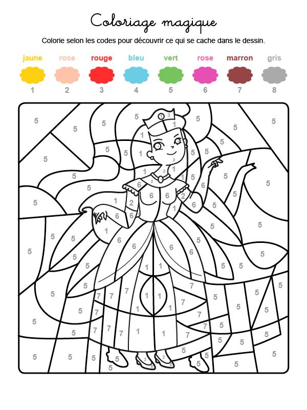 Dibujo mágico para colorear en francés de una princesa