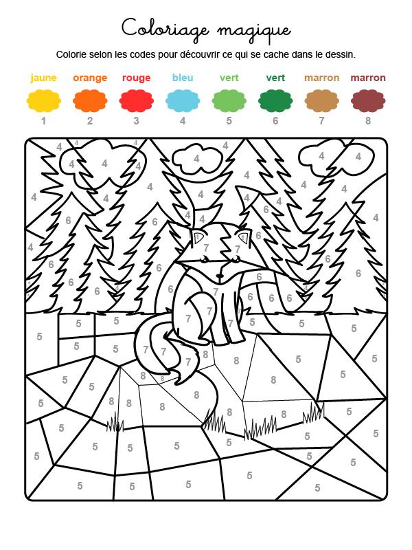 Dibujo mágico para colorear en francés de un zorro en el campo