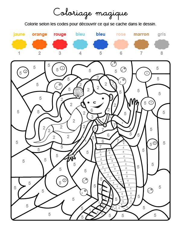 Dibujo mágico para colorear en francés de una sirena bajo el agua