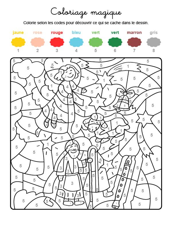 Dibujo mágico para colorear en francés de un ángel y una estrella de Navidad